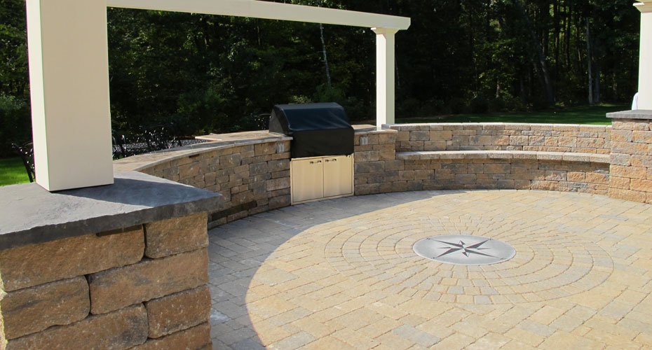 landscape design retaining walls, outdoor kitchens